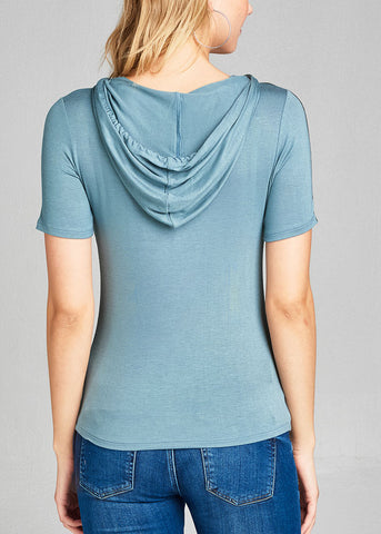Casual Short Sleeve Stretchy Sage Top W Hood