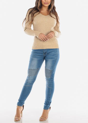 Beige Ribbed V-Neck Sweater
