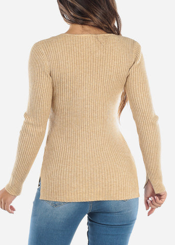 Beige Ribbed Long Sleeve Sweater