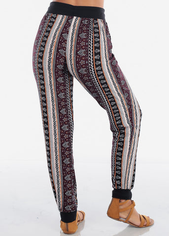 Image of Mustard Abstract Print Jogger Pants