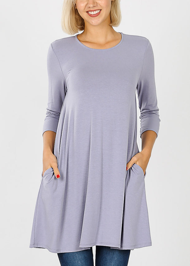 Round Neck Ash Lavender Tunic Dress
