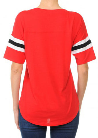 Red V Neck Stripe Sleeves Varsity Tee