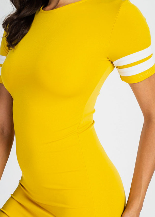 Stripe Sleeve Mustard Bodycon Dress