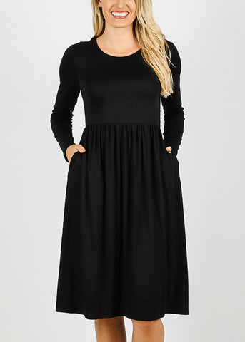 Black Long Sleeve Waist Shirring Dress