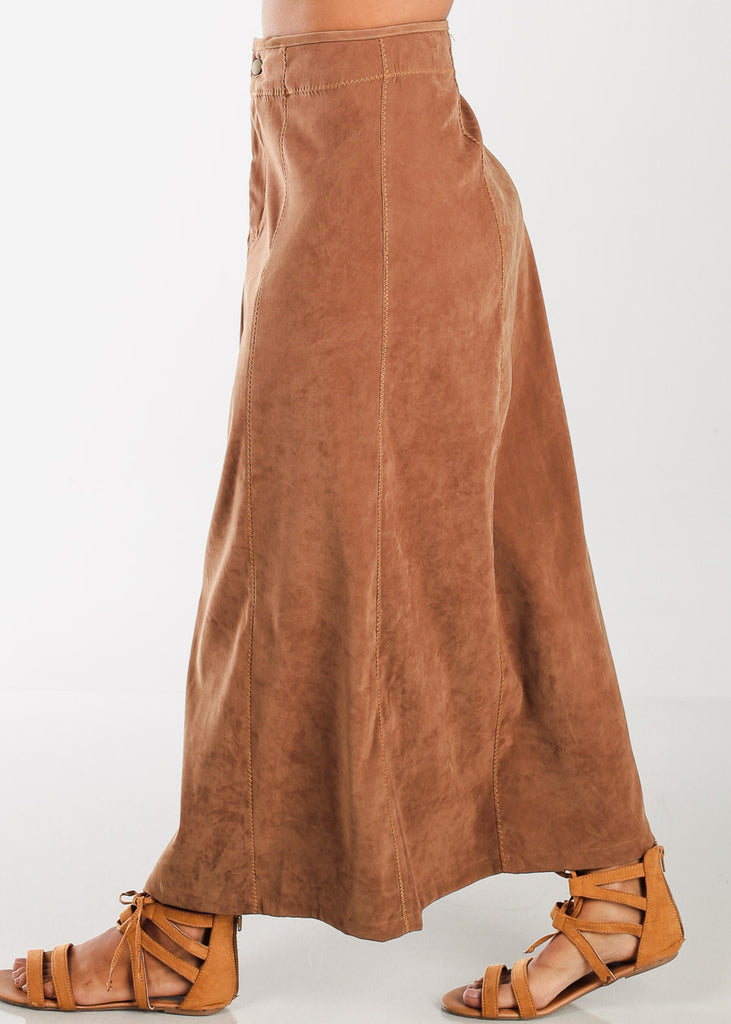 1 Button Zip Up High Waisted Long Dark Camel Maxi Skirt For Women Ladies Junior On Sale Fashionable New 2019