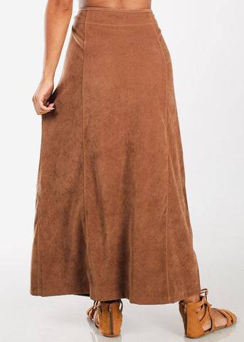 Image of 1 Button Zip Up High Waisted Long Dark Camel Maxi Skirt For Women Ladies Junior On Sale Fashionable New 2019