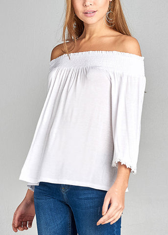 Stylish Off Shoulder 3/4 Sleeve Stretchy White Top