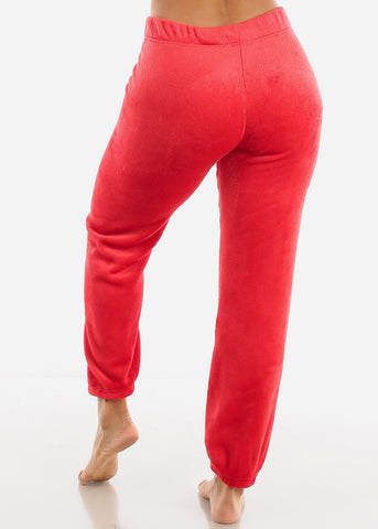 Red Plush Pajama Pants