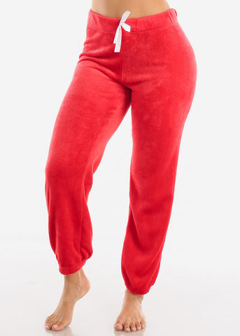 Image of Red Plush Pajama Pants