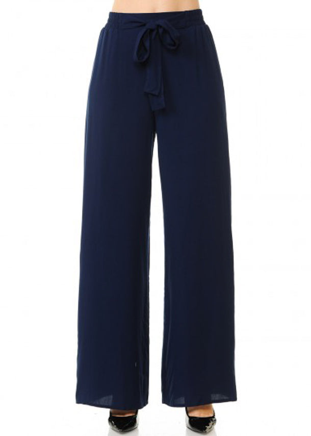 Tie Front Wide Legged Navy Pants