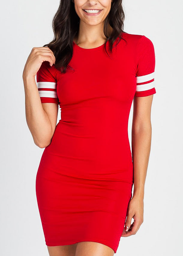 Stripe Sleeve Red Bodycon Dress