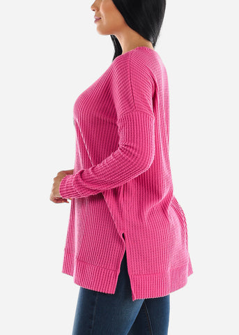 Hot Pink Bushed thermal Waffle Sweater