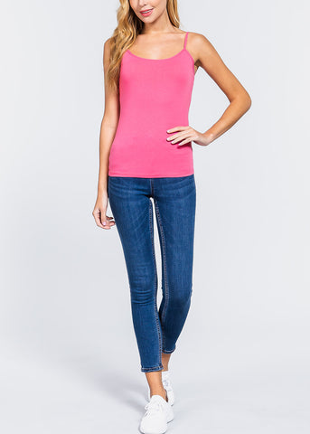 Image of Pink Spaghetti Strap Tank Top