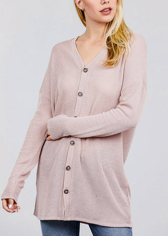 Image of Light Pink Button Down Knit Cardigan