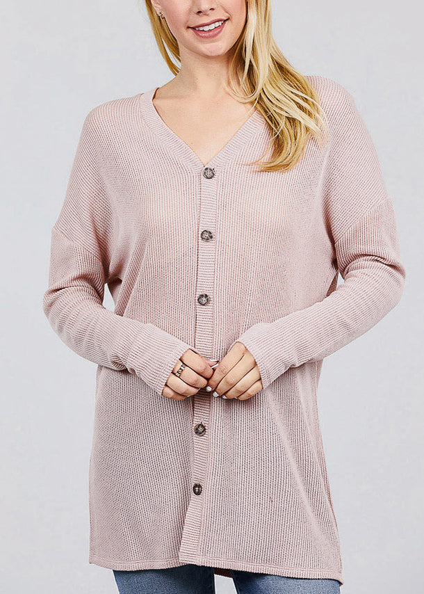 Light Pink Button Down Knit Cardigan