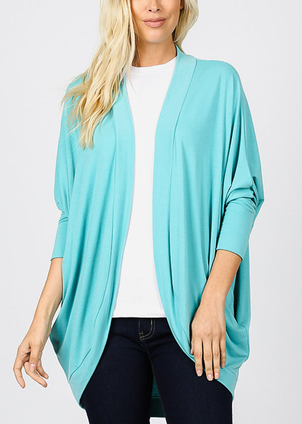Long Sleeve Open Front Mint Cardigan