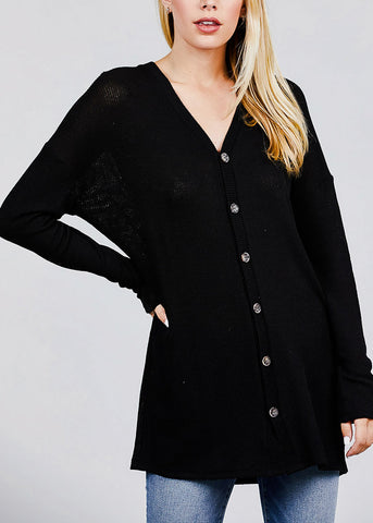 Image of Black Button Down Knit Cardigan