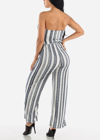 Image of Stripe Blue Strapless Jumpsuit