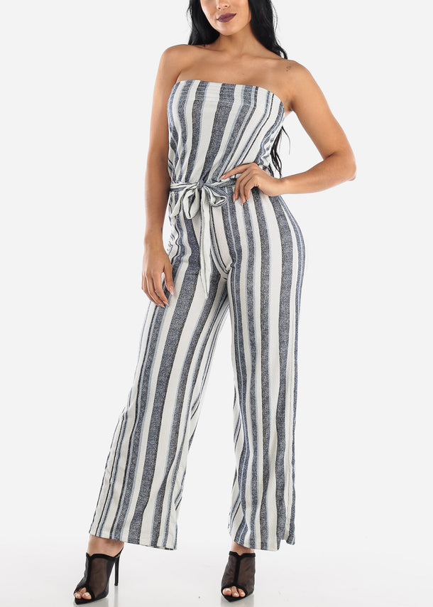 Stripe Blue Strapless Jumpsuit