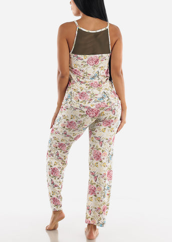 Image of Olive Floral Printed Top & Pants (2 PCE PJ SET)