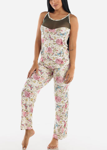 Olive Floral Printed Top & Pants (2 PCE PJ SET)