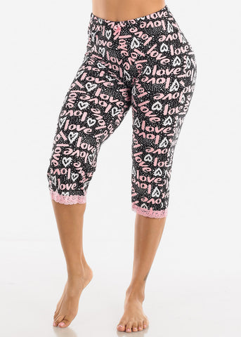 Women's Black Capris Pajama Pants