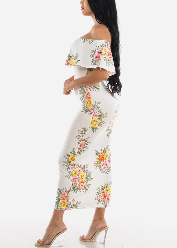 Off Shoulder White Floral Maxi Dress