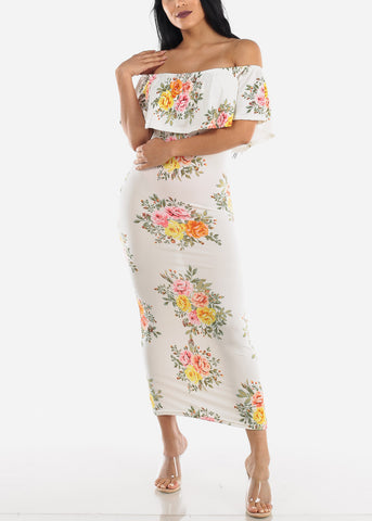 Image of Off Shoulder White Floral Maxi Dress