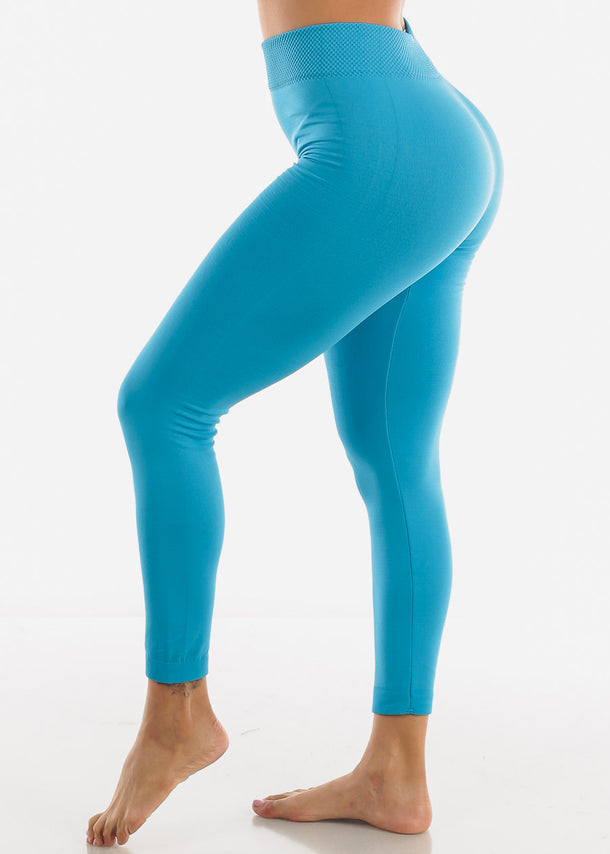 Full Length High Waist Blue Leggings