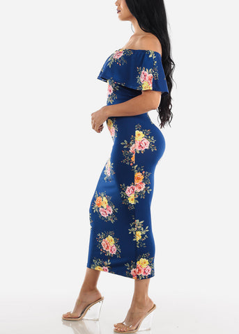 Off Shoulder Navy Floral Maxi Dress