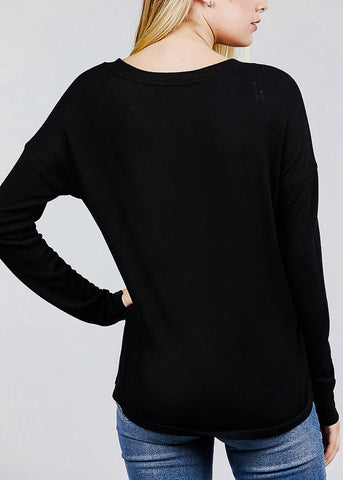 Image of Black V-Neck Button Down Cardigan