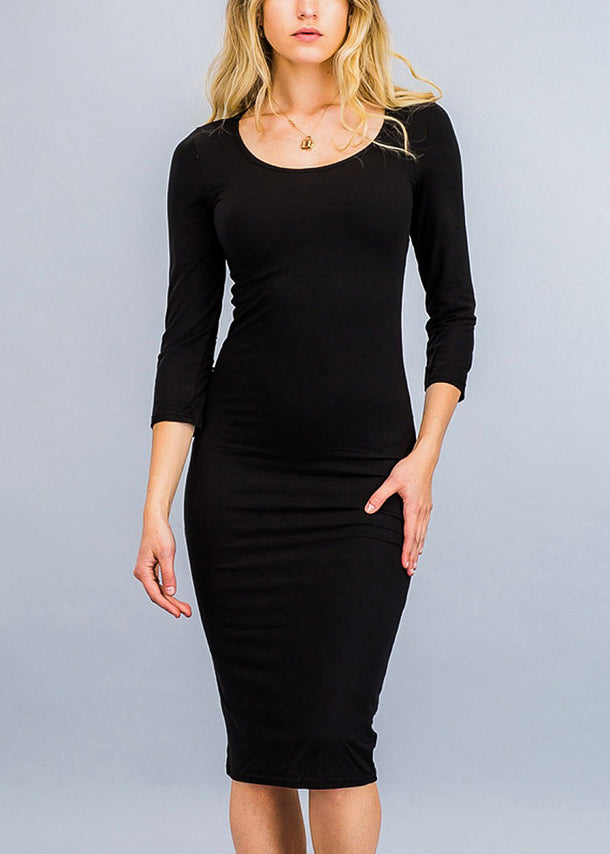 Black Three Quarter Sleeve Midi Dress