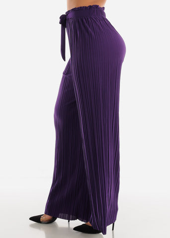 Image of Purple Pleated Wide Legged Pants