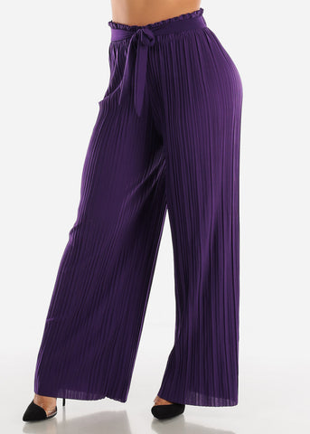 Purple Pleated Wide Legged Pants