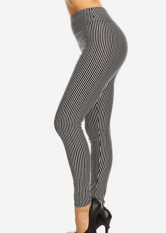 Image of High Waisted Black & White Stripe Skinny Pants