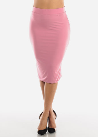Image of  High Waisted Mauve Pencil Skirt