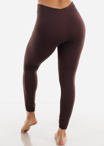 Full Length High Waist Brown Leggings