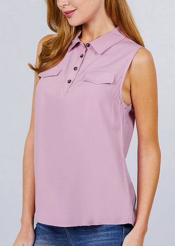 Image of Half Button Up Pink Sleeveless Shirt