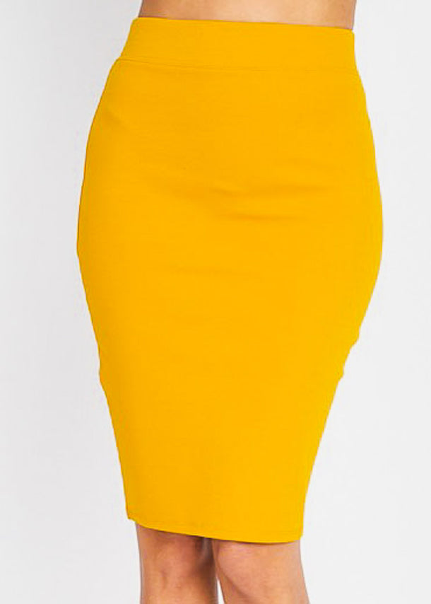Knee Length Mustard Skirt