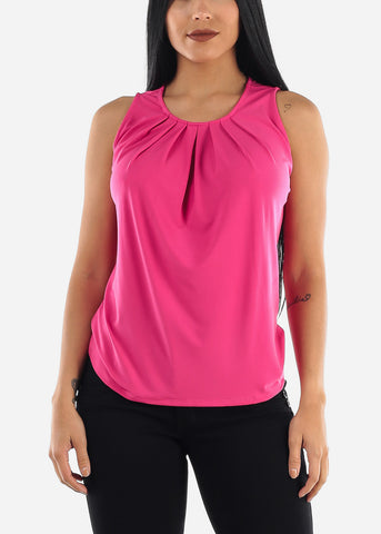 Hot Pink Pleat Top