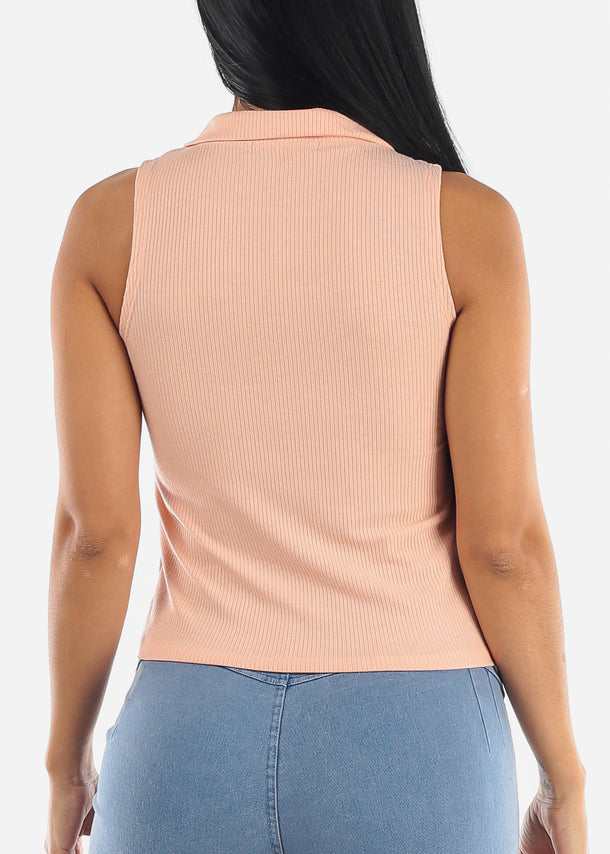 Zip Up Neckline Rose Ribbed Top