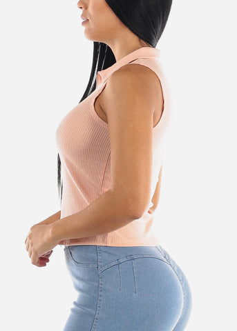 Image of Zip Up Neckline Rose Ribbed Top