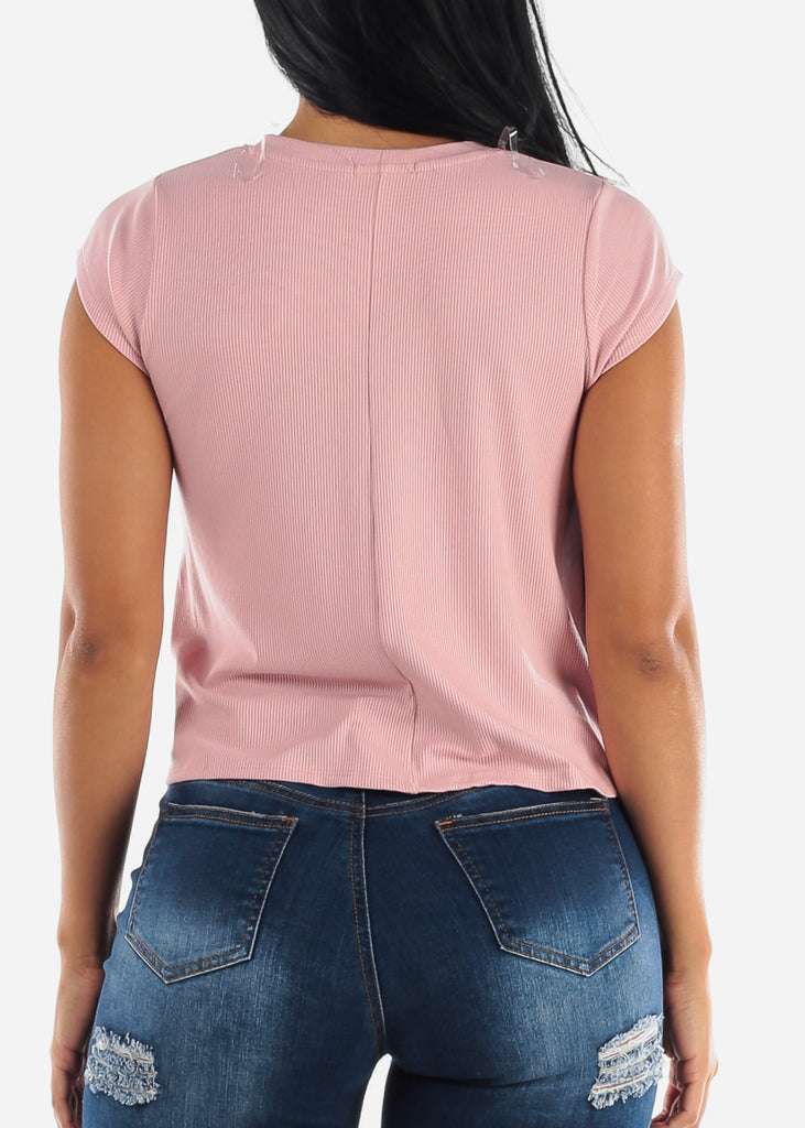 Rose Crew Neck Ribbed Top