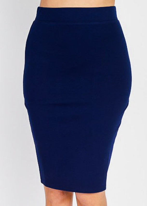 Knee Length Navy Skirt