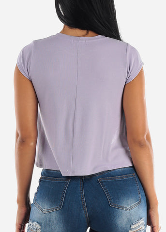 Image of Lavender Crew Neck Ribbed Top