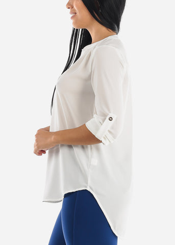 Image of Quarter Sleeve Ivory Dressy Blouse