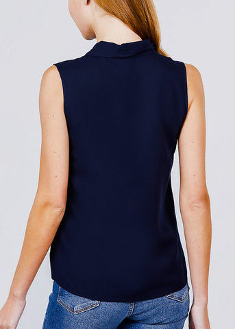 Half Button Up Navy Sleeveless Shirt