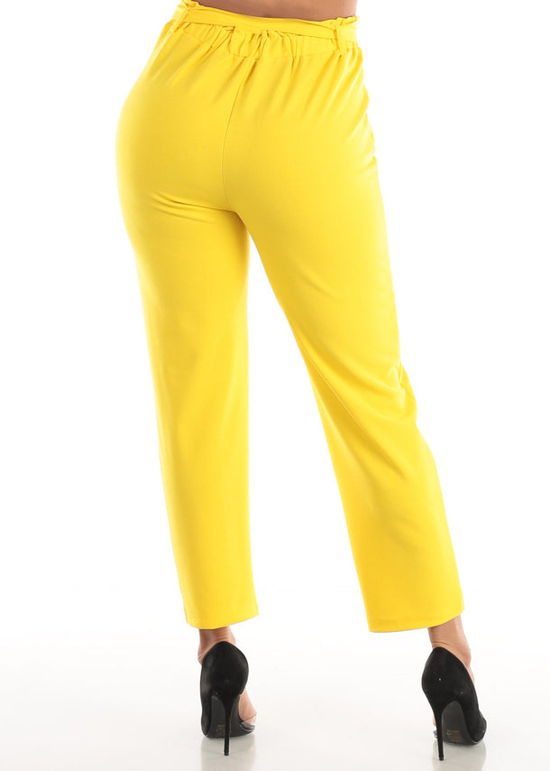 Yellow Belted Straight Leg Dress Pants