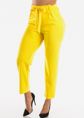 Image of Paperbag Tie Belt Yellow Trousers