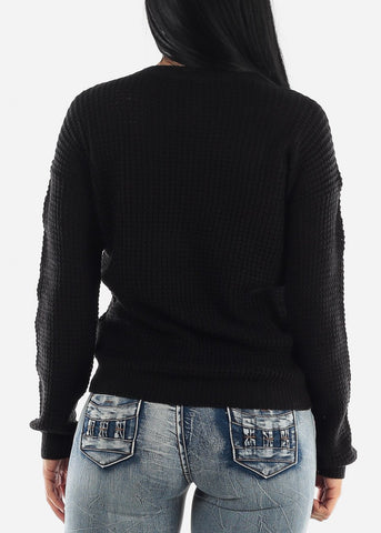 Long Sleeve Knitted Black Sweater